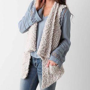 Coffeeshop Teddy Bear Sweater Vest Pockets L